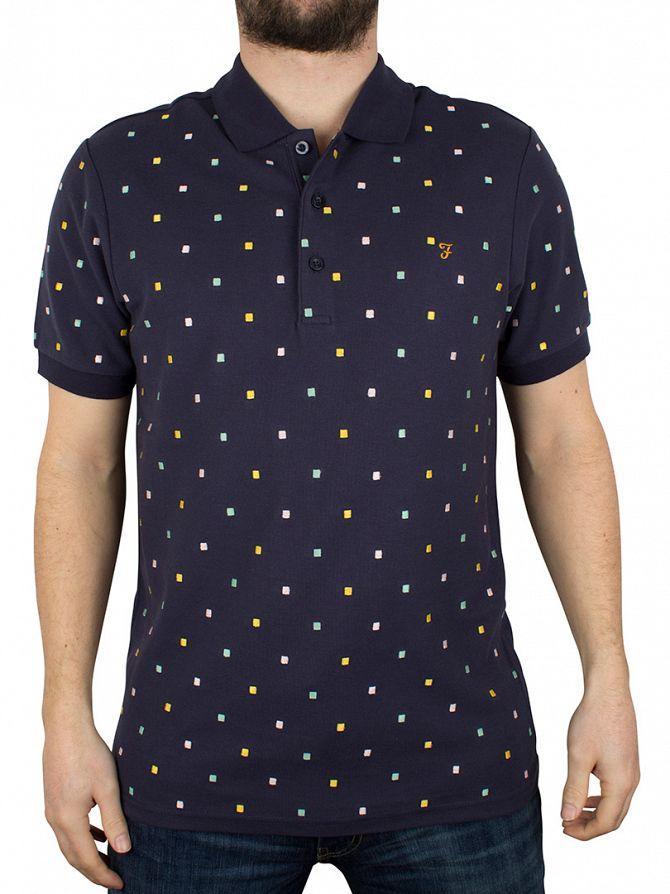 Farah Vintage Ink Blue Marlon Multi Squares Polo Shirt