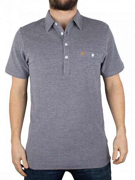 Farah Vintage True Navy Tennyson Pocket Polo Shirt