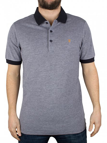 Farah Vintage True Navy Elstead Tipped Polo Shirt