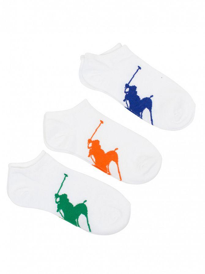 Polo Ralph Lauren White 3 Pack Large Logo Ankle Socks