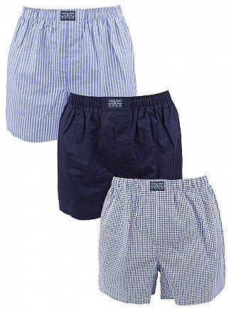 Polo Ralph Lauren Blue/Multi 3 Woven Striped & Checked Classic Cotton Boxers