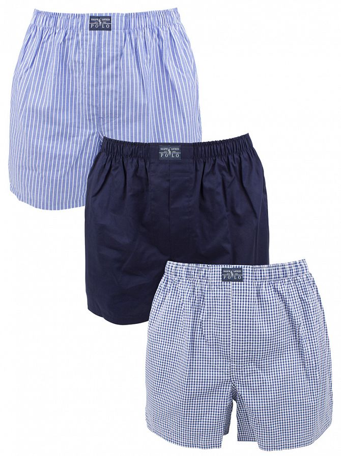 Polo Ralph Lauren Blue/Multi 3 Woven Striped & Checked Classic Cotton Boxers