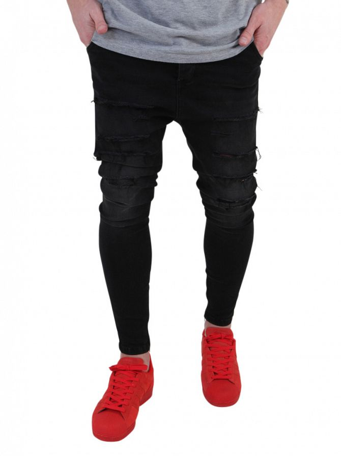 Sik Silk Black Washed Distressed Drop Crotch Jeans