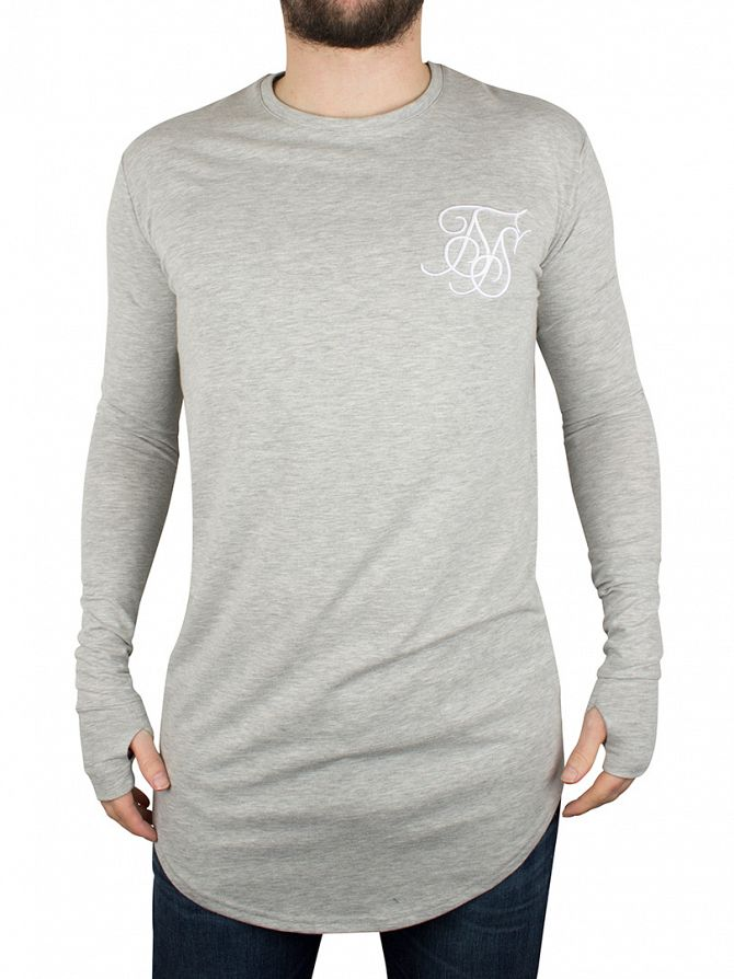 Sik Silk Grey Marl Longsleeved Marled Logo T-Shirt