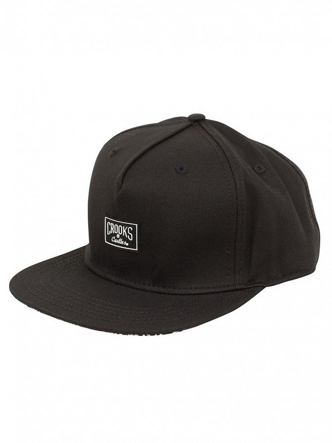 Crooks & Castles Black Woven Snapback Core Logo Cap