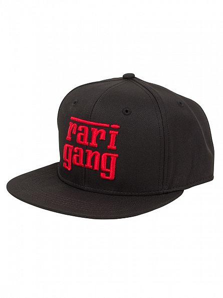 Crooks & Castles Black Woven Snapback Rari Gang Logo Cap