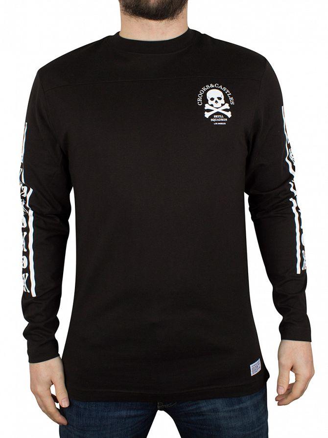 Crooks & Castles Black Skull Squadron Longsleeved T-Shirt