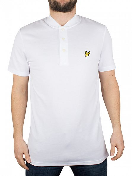 Lyle & Scott White Bomber Collar Logo Polo Shirt