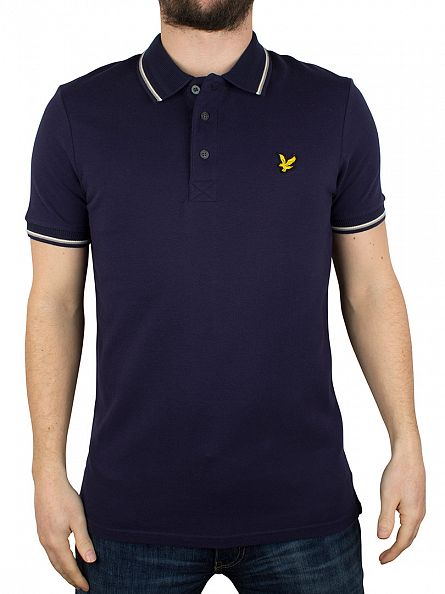 Lyle & Scott Navy Tipped Trim Look Polo Shirt