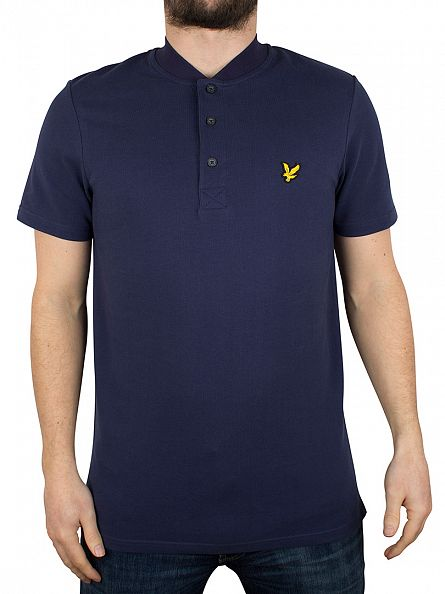 Lyle & Scott Navy Bomber Collar Polo Shirt
