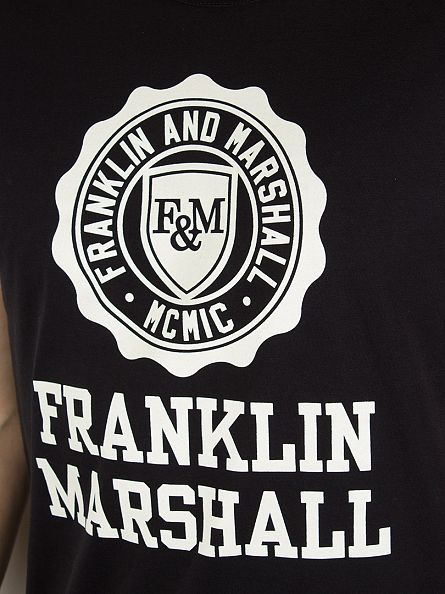 Franklin & Marshall Black Stamp Logo Graphic T-Shirt