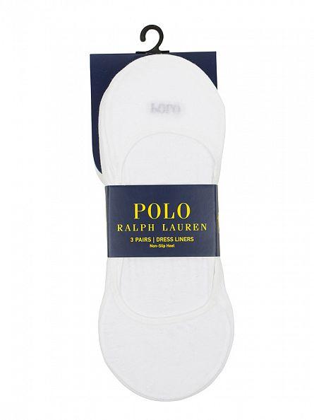 Polo Ralph Lauren White 3 Pack Dress Liner Socks