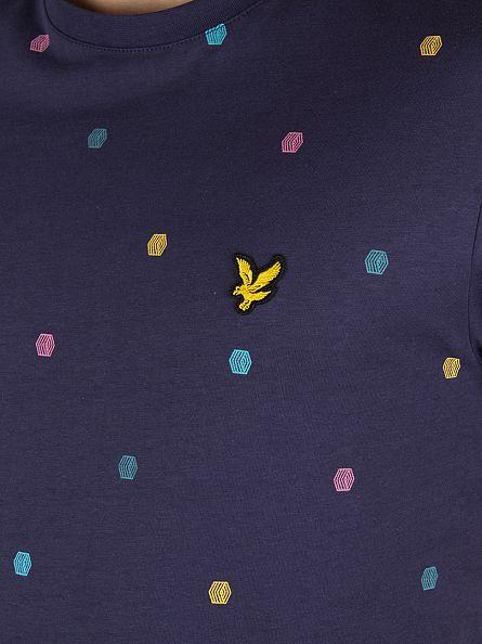 Lyle & Scott Navy Micro Print T-Shirt