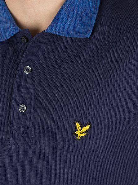 Lyle & Scott Navy Space Dye Collar Logo Polo Shirt
