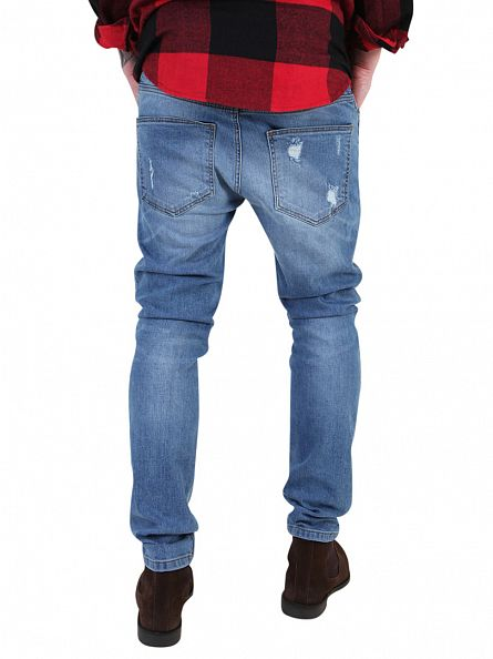 Sik Silk Blue Vintage Slim Fit Jeans