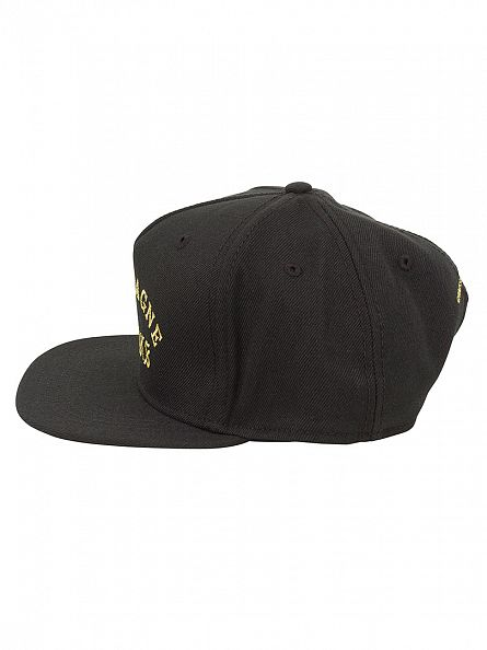 Crooks & Castles Black Woven Snapback Champagne Logo Cap