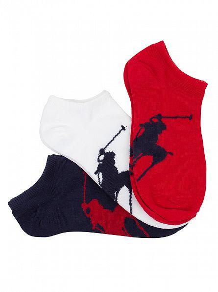 Polo Ralph Lauren Blue/White/Red 3 Pack Large Logo Ankle Socks