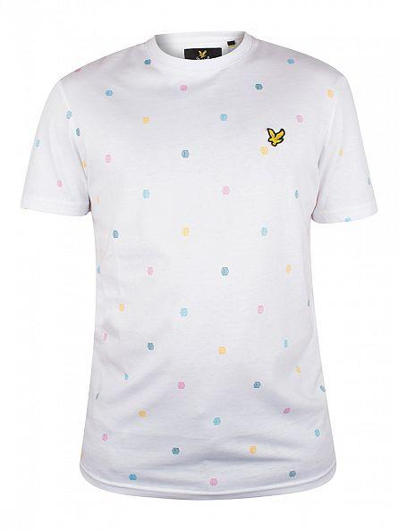 Lyle & Scott White Micro Print T-Shirt