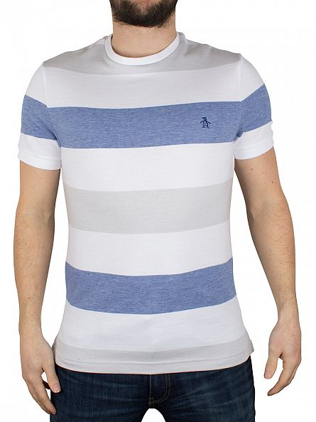 Original Penguin Bright White Birdseye Colour Block Stripe Logo T-Shirt