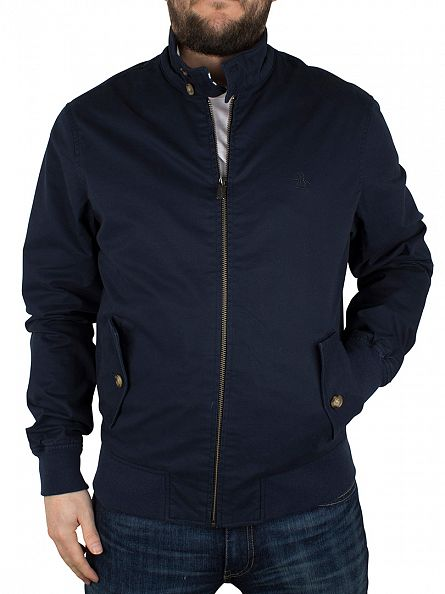 Original Penguin Dark Sapphire Harrington Logo Zip Jacket