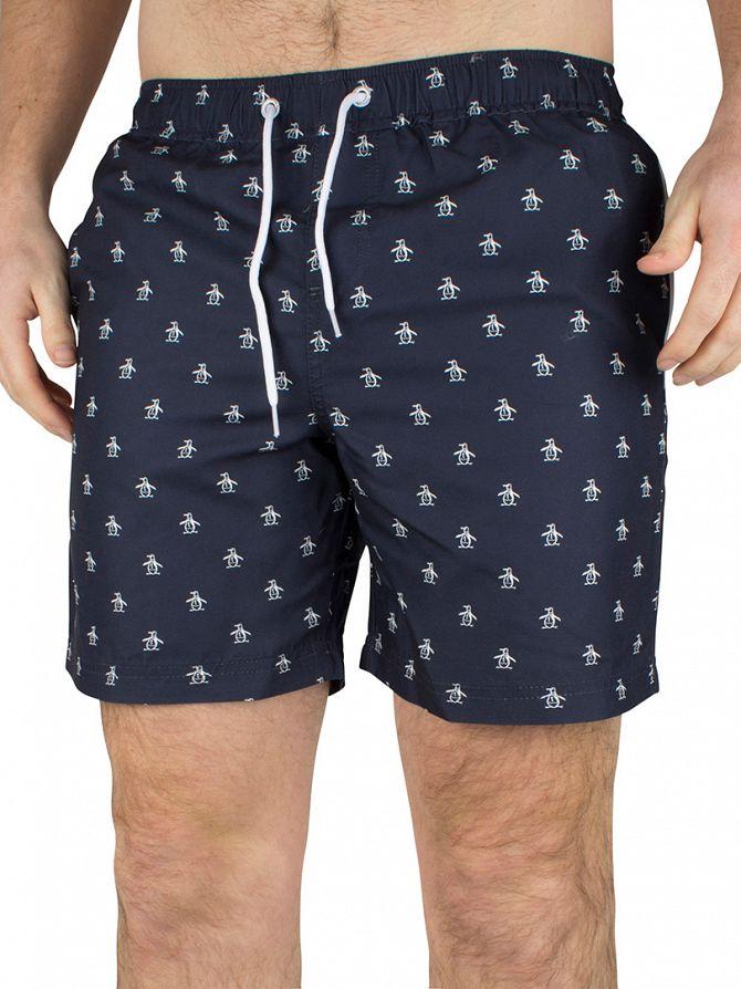 Original Penguin Total Eclipse All Over Logo Swim Shorts