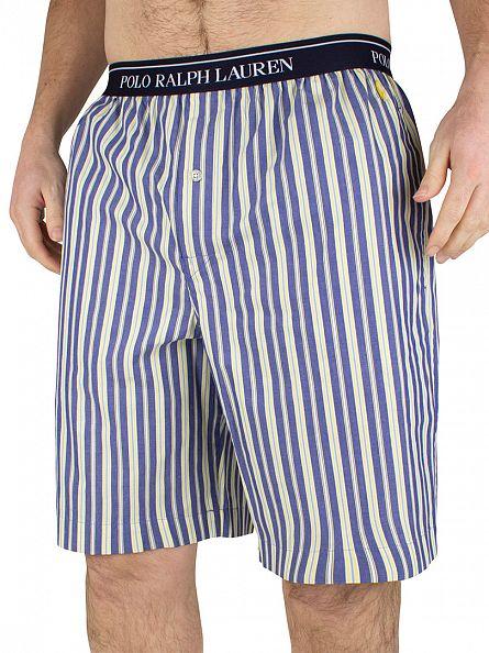 Polo Ralph Lauren Blue/Yellow Logo Flynn Striped Pyjama Sleep Shorts