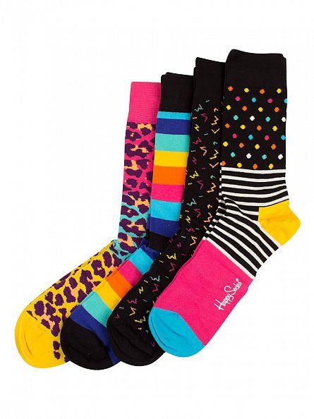 Happy Socks Black/Multi 80's Gift Pack Of 4 Socks