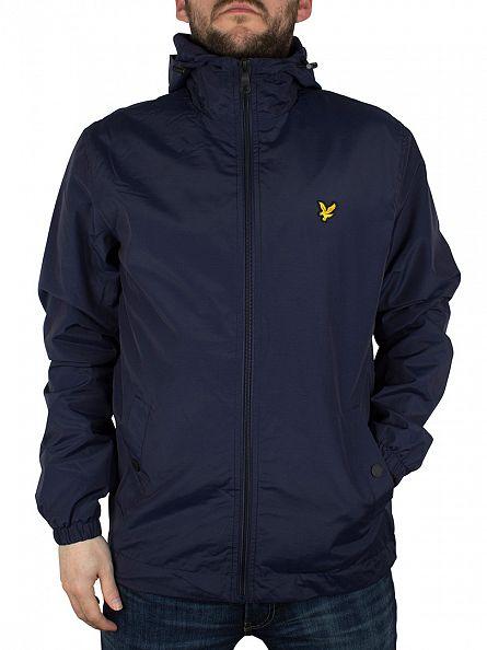 Lyle & Scott Navy Zip Through Hooded Jacket