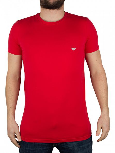 Emporio Armani Red Crew Neck Logo T-Shirt