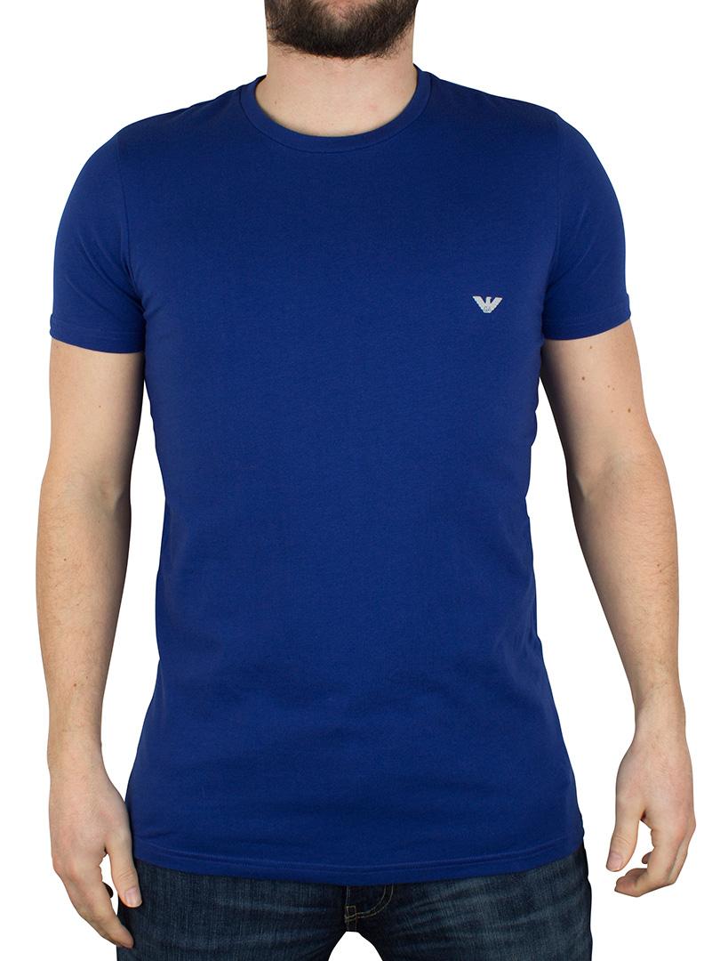 emporio armani cobalt blue crew neck logo tshirt