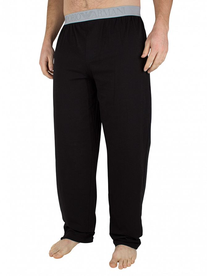 Emporio Armani Black Logo Pyjama Bottoms
