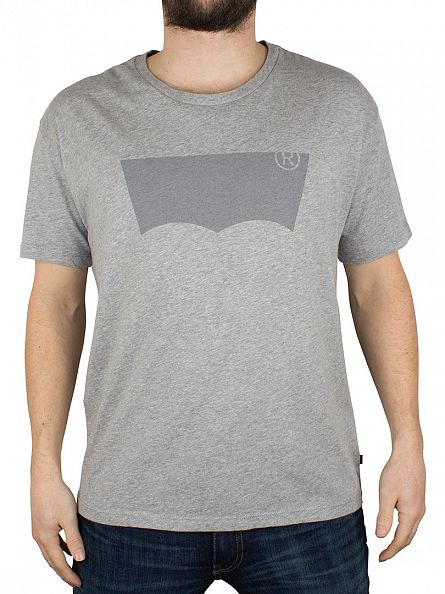Levi's Light Grey Marl Line 8 Batwing New Graphic T-Shirt