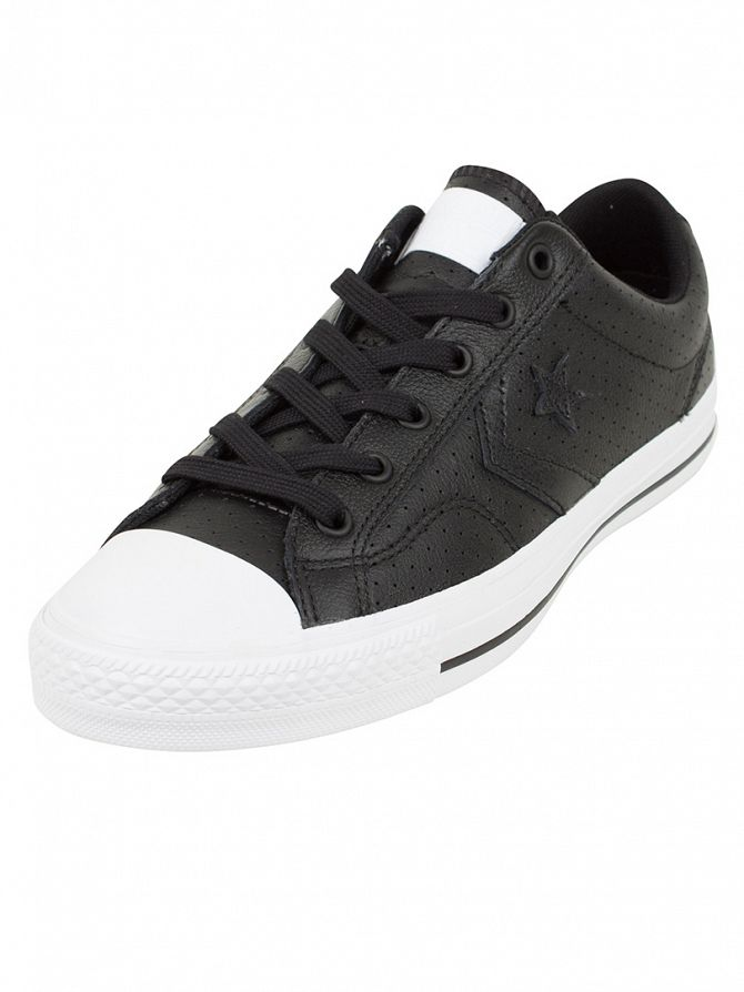 Converse Black/Black/White Star Player OX Perforated Trainers