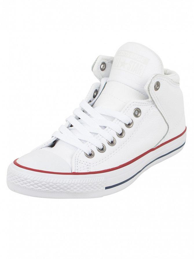 Converse White/Garnet Chuck Taylor Street Hi Trainers