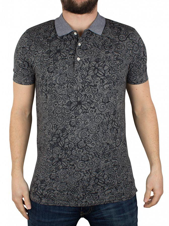 Scotch & Soda Dark Grey All Over Swirls Print Polo Shirt