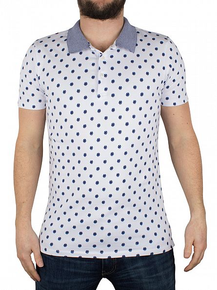 Scotch & Soda White/Blue All Over Splodge Print Polo Shirt