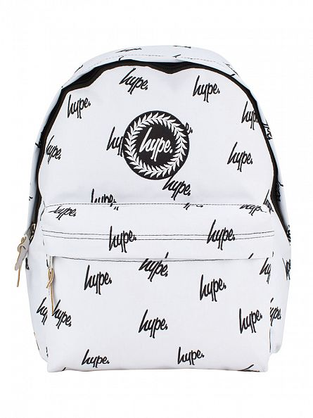Hype White/Back Embroidery All Over Logo Backpack