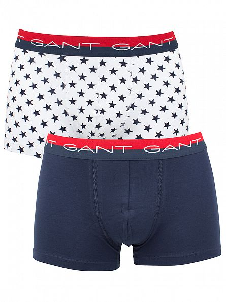 Gant White/Navy 2 Pack Stars Logo Cotton Stretch Trunks
