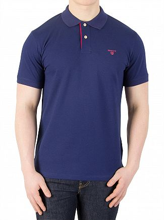 Gant Persian Blue Contrast Collar Pique Logo Polo Shirt