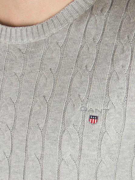 Gant Light Grey Melange Cotton Cable Knit