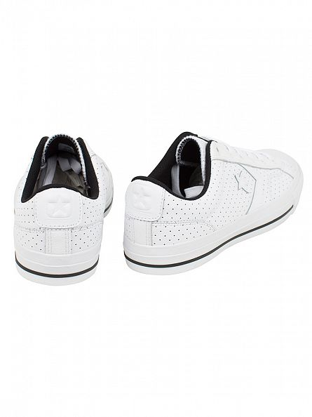 Converse White/White/Black Star Player OX Perforated Trainers