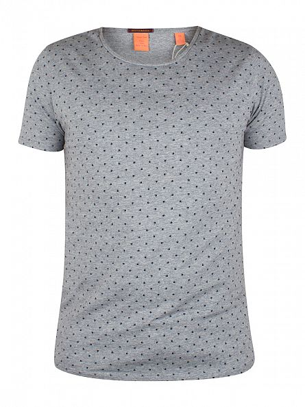 Scotch & Soda Light Grey Marl All Over Circle Slice Print T-Shirt