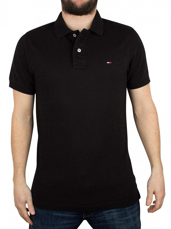 Tommy Hilfiger Denim Tommy Black Original Flag Logo Polo Shirt