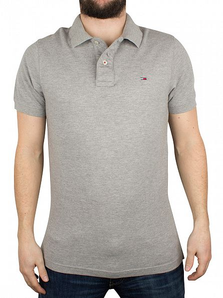 Hilfiger Denim Light Grey Heather Original Flag Logo Polo Shirt