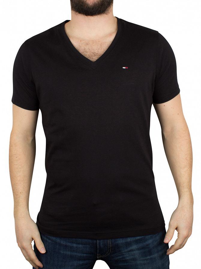 Hilfiger Denim Tommy Black V-Neck Logo T-Shirt