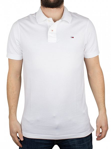 Hilfiger Denim Classic White Original Flag Logo Polo Shirt