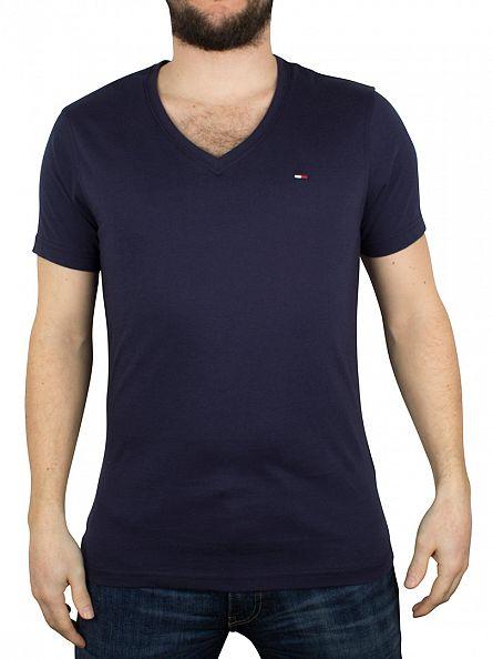 Hilfiger Denim Black Iris Navy V-Neck Logo T-Shirt