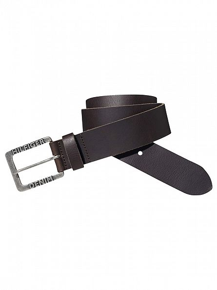 Tommy Hilfiger Denim Dark Brown Original Leather THD Logo Belt
