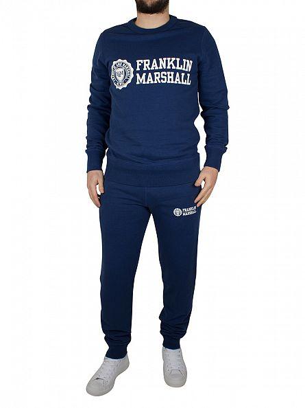 Franklin & Marshall Original Blue Stamp & Text Logo Sweatshirt Tracksuit