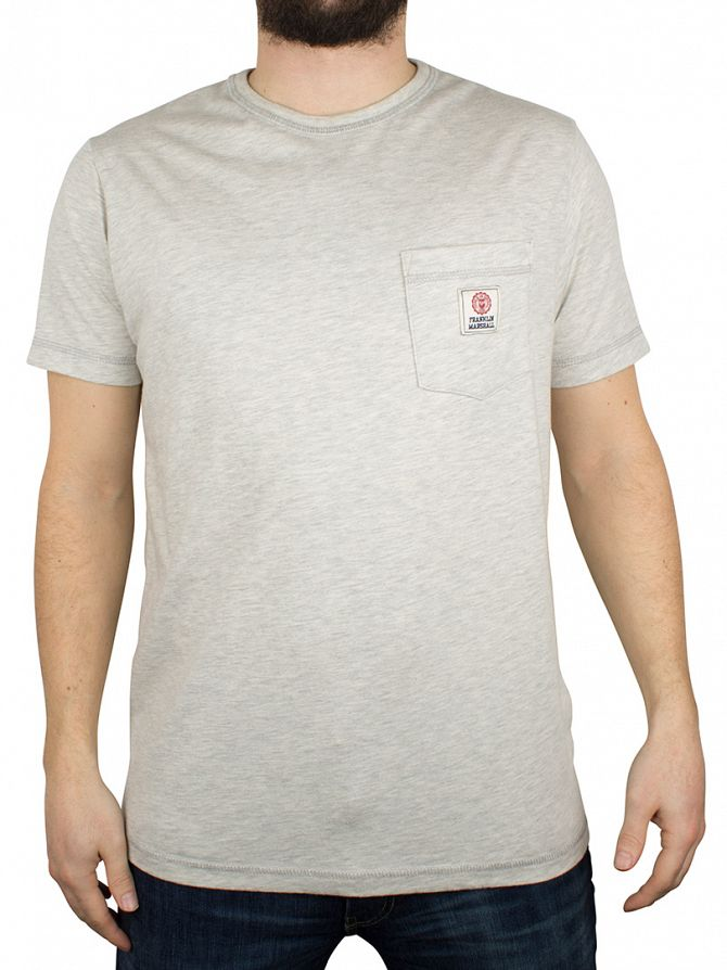 Franklin & Marshall Original Grey Melange Marled Logo Pocket T-Shirt